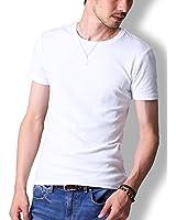 FTELA(フテラ)メンズ シャツ Tシャツ 無地 半袖 丸首 クルーネック シンプル スリム 春 夏 ホワイト L