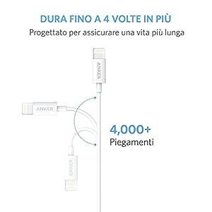 Anker プレミアムライトニングUSBケーブル 【iPhone X / 8/ 8 Plus 対応 / Apple認証】コンパクト端子 ( ホワイト0.9m )