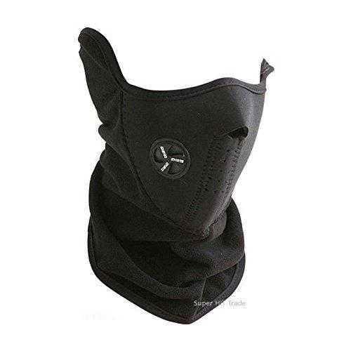 COM-SHOT スキー、登山、ツーリングに 防寒 防風 ハーフマスク 伸縮素材 カンタン装着 サイズ不問 黒色 SNOW-BKNHFMSK