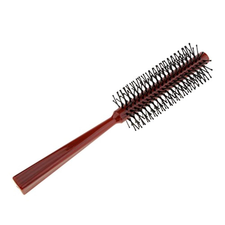 気を散らす木フレームワークロールブラシ ヘアコーム 櫛 ヘアサロン 美容師 全2色 - 赤