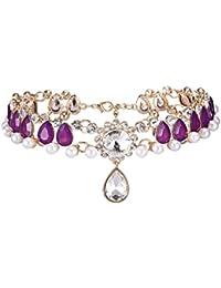 Hellery ネックレス 女性 チョーカー ペンダント 結婚式 全7種類 - 紫