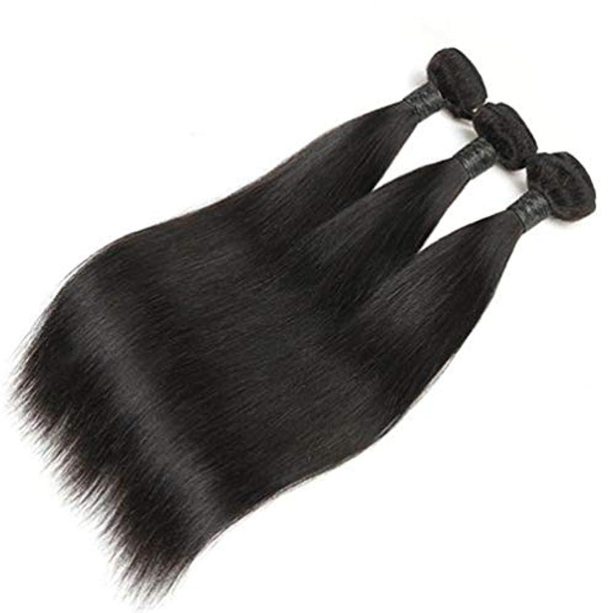 女性ブラジルのストレート人間の髪シルキーストレートバージン人間の髪織りエクステンション自然300 g(3バンドル)