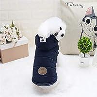 JIANGNIJP 動物の服 のペット犬の服の口ひげ両方の足温かいぬいぐるみのフード付きコート、サイズ:S、バスト:32cm、ネック:23cm (色 : Navy Blue)