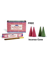 Buycrafty Satya Champa Sacred Ritual Incense Stick,180 Grams Box (15g x 12 Boxes) with 4 Free Incense Cone