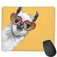 """ファッションヒップスターラマとメガネ ゲーミングマウスマットパッドマウスマットコンピューター、PC、キーボード、デスク用滑り止めラバーベース9.8""""x 11.8"""""""