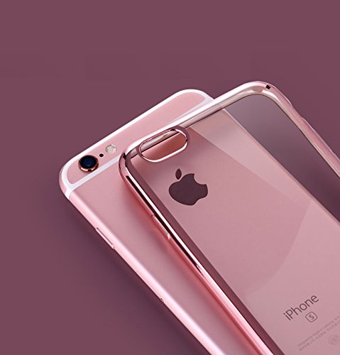 『Rovski iPhone6s Plus ケース iPhone6 Plus ケース 弧状設計 脱着簡単 超薄型耐衝撃 保護キャップ 一体型 ソフト TPU ケース(ローズゴールド)』の2枚目の画像
