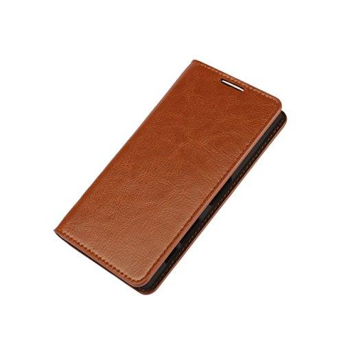 Samsung Galaxy S7 Edge 牛本革 ケース 【ブラウン】レザー 手帳型 財布型 スタンド機能 横置き カード収納3枚 全面保保護 マグネット無し スマートフォン カバー