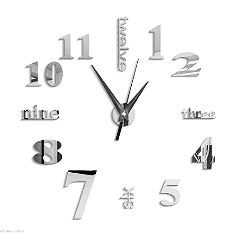 SODIAL 3D大きな掛け時計ミラーステッカー 大きな時計ステッカー 室内装飾ユニークなギフト?DIYシルバー