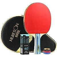 Huieson 3スター 卓球ラケット 卓球セット ラケット1本 ピンポン球3個 3色エッジプロテクション