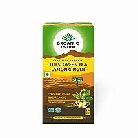 Organic India Tulsi Green - 18 Tea Bags (Lemon Ginger) by ORGANIC INDIA