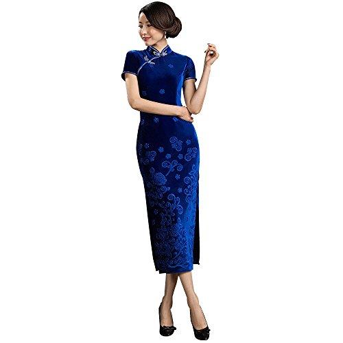 (福丸) チャイナドレス セクシー ロング ベルベット チャイナ服 ワンピース チャイナ ドレス レディース 中華風 (M, 青)