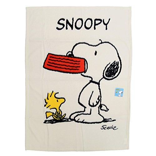 【スヌーピー】ブランケット + ミニタオル セット 毛布 ふわふわ ピーナッツ 4色 ブルー イエロー ブラウン ホワイト キャラクター (ホワイト)