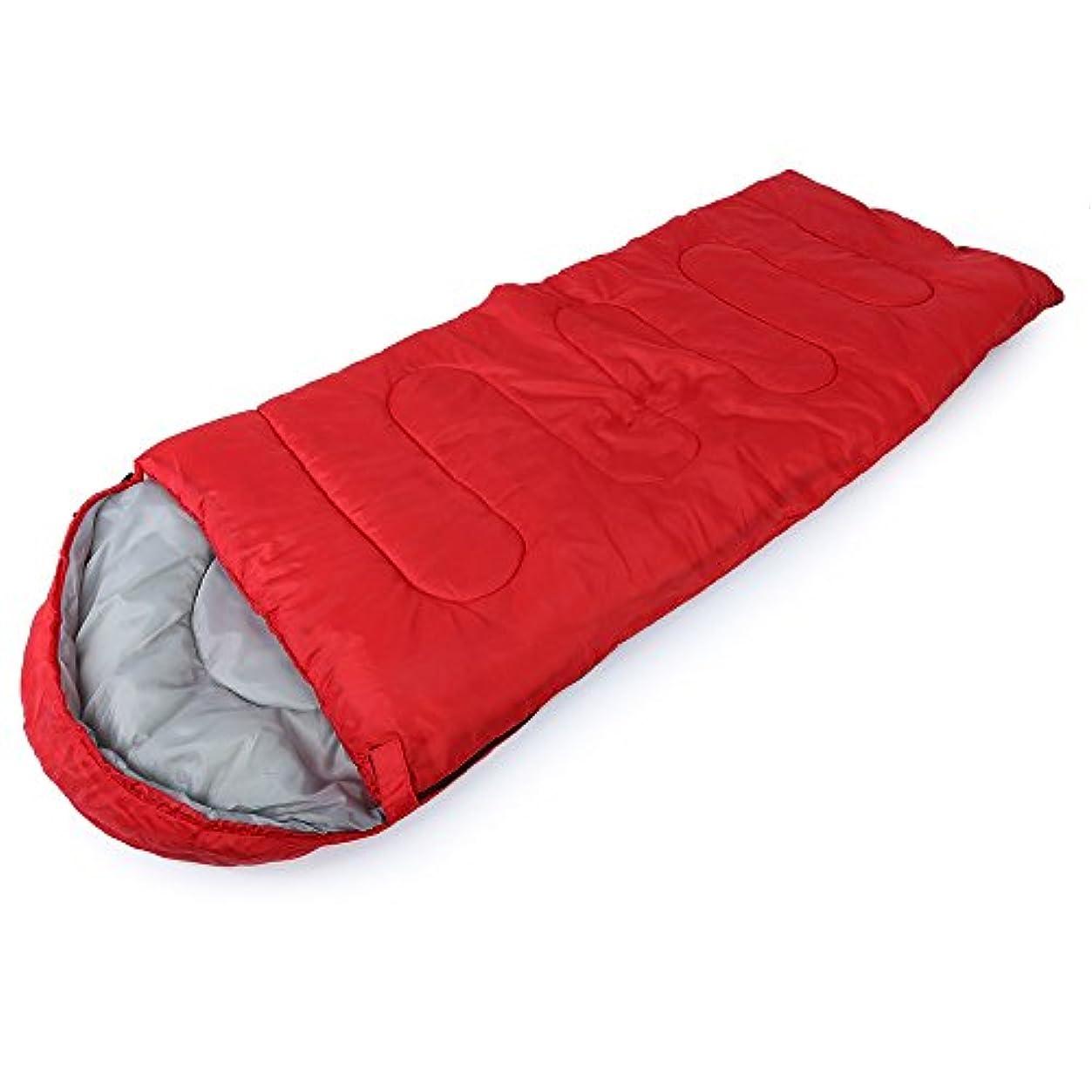 花輪脅威ワゴンアウトドアキャンプエンベロープスタイルフード付きの薄い中空コットン寝袋