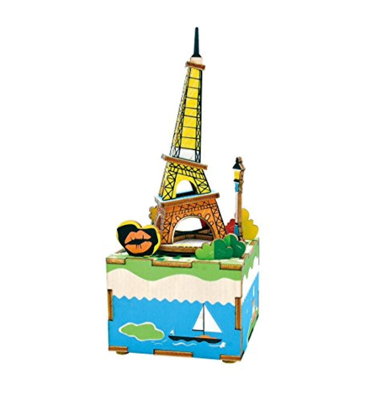 am308 DIY 3d木製パズル音楽ボックス: Romantic Eiffel