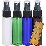 スプレーボトル 30ml 4本 オリジナルラベルシール付き 遮光 PET製 (4色(青、緑、茶、白))