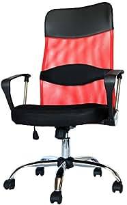 MR-STOREハイバックオフィスチェア 着脱可能腰クッション付き 上下左右可動式 メッシュタイプ レッド