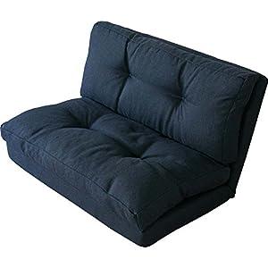 3WAY折り畳みソファーベッド/KOLME 幅約90 2人掛けセミダブル ネイビー CG-4Aー90-FAB