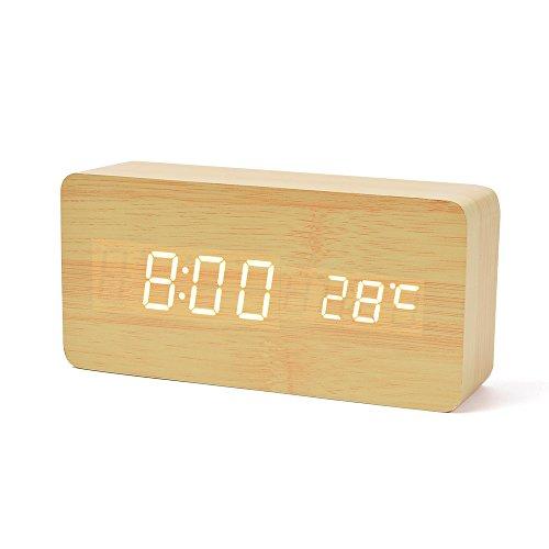 デジタル LED めざまし時計 FIBISONIC 置き時計 alarm clock 多機能 おき型 音声感知 省エネ 温度計 USB給電 木目調 おしゃれ おき型 インテリア プレゼント (茶色・白字)