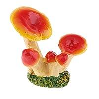 ミニキノコ-テーブル用のポケットサイズの小さな装飾 - イエローレッドD