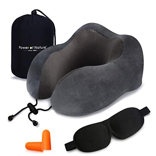 ネックピロー U型 首枕 頚椎肩こり改善 飛行機 車 旅行用 トラベル枕 携帯枕 収納袋付 (グレー)
