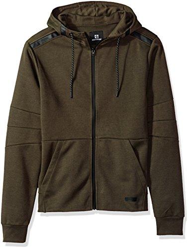 Southpole Men's Tech Fleece Tech Fleece Hooded Full-Zip Jacket, Olive, Small