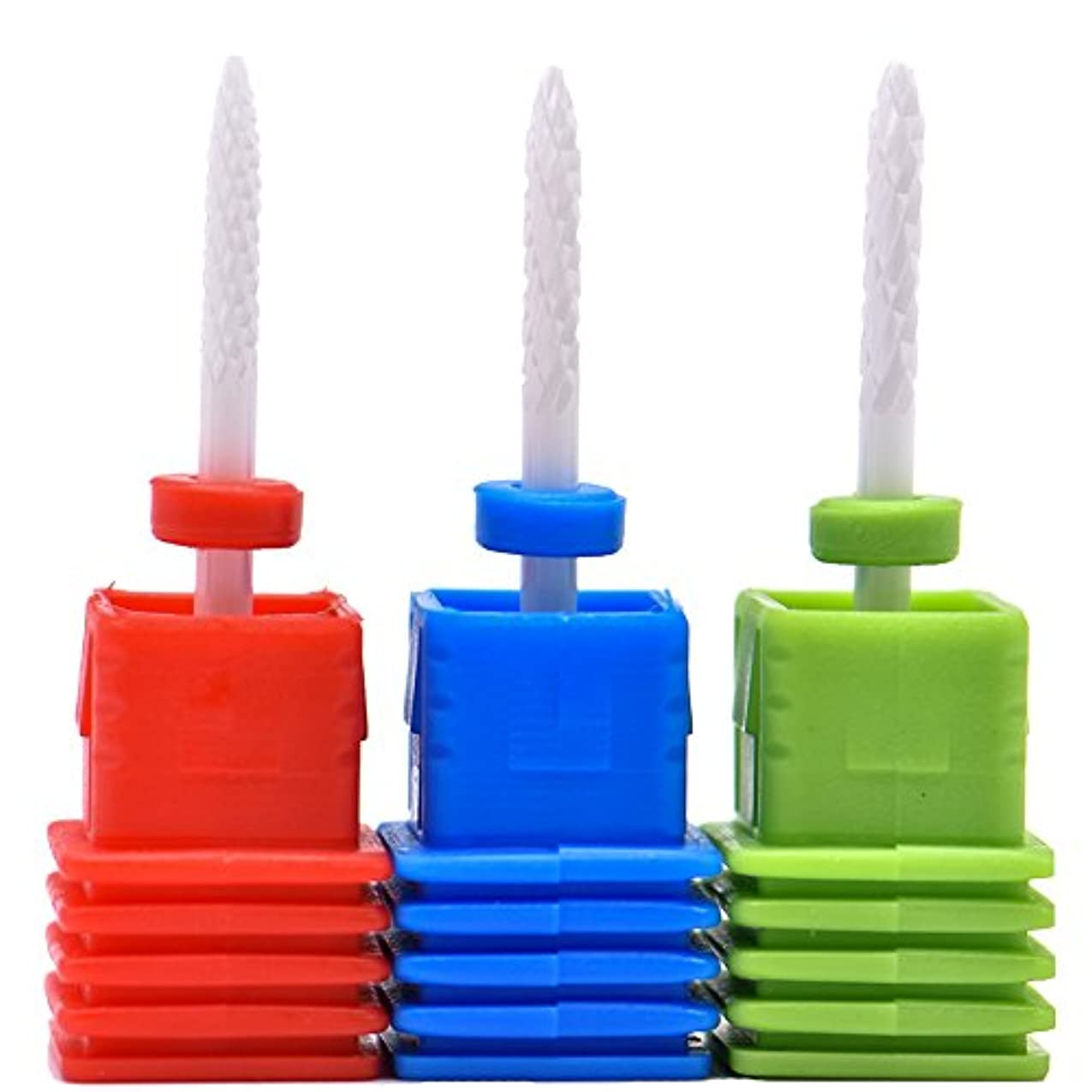 Oral Dentistry ネイルアート ドリルビット 細かい 研削ヘッド 研磨ヘッド ネイル グラインド ヘッド 爪 磨き 研磨 研削 セラミック 全3色 (レッドF(微研削)+ブルーM(中仕上げ)+グリーンC(粗研削))