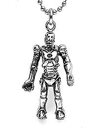 ステンレススチールメンズレトロネックレスロボット形状シルバー4.82.5 CM