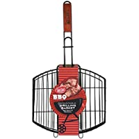 TableCraft BBQ1122M Nonstick 23 by 12-Inch Coating Grilling Basket with Wood Handle, Small, Black [並行輸入品]