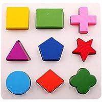 inverleeキッズ赤ちゃん木製ジオメトリビルディングブロックパズル子供の初期の学習教育玩具クリスマスギフトおもちゃ マルチカラー IN