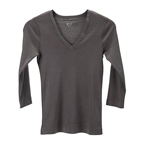 Three Dots スリードッツ Amy エッセンシャル ディープ Vネック 七分袖Tシャツ アミー AA4V003 New York Grey ニューヨークグレー XS並行輸入品