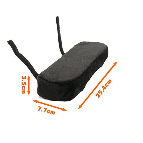 ひじ掛けクッション 肘置き 低反発 腕痛対策 オフィスチェア・車椅子用 2枚入り ブラック 25.4×7.7×3.5cm