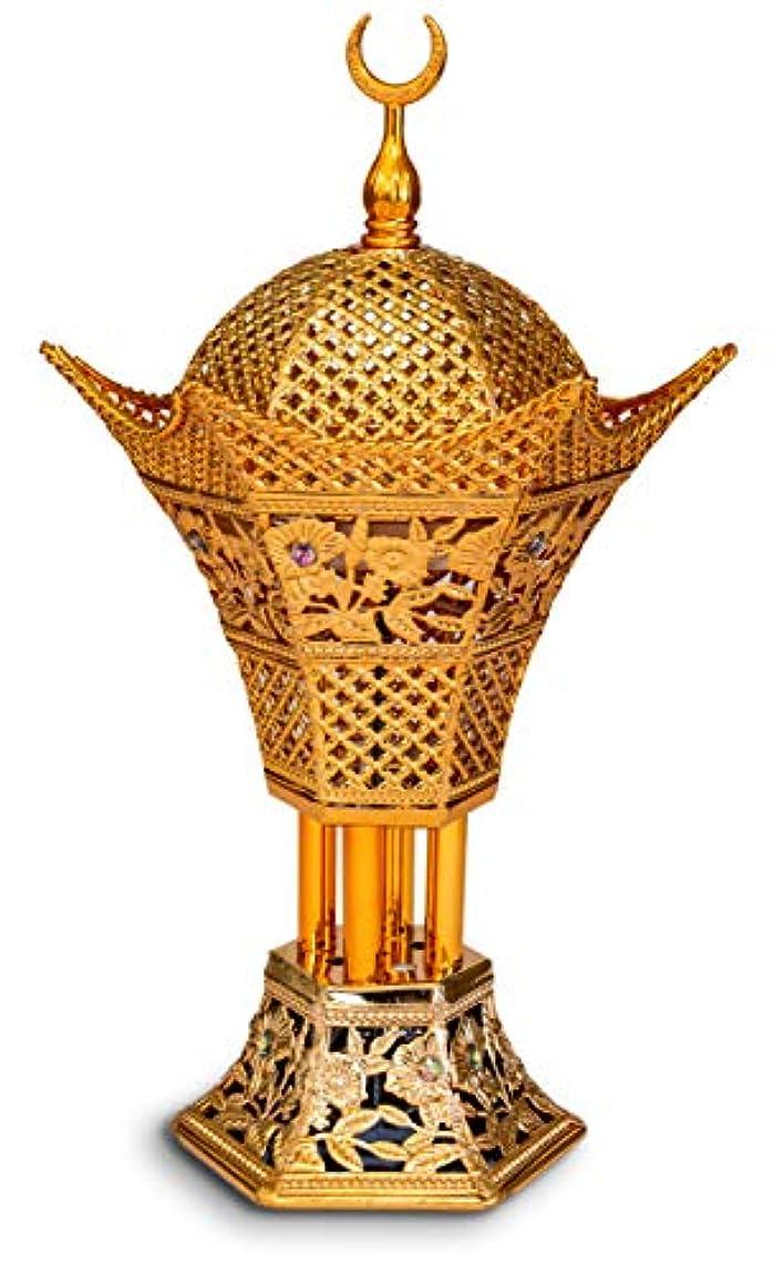 以来先例米国AM Bakhoor チャコール香炉 – Oud フランキンセンス樹脂バーナー 高さ10.5インチ – Bakhoor Oudお香スティックコーン用 – ラグジュアリーフィリグリー ゴールド 4354156768
