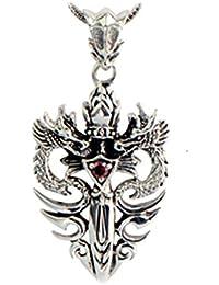 Jade Angel の純銀製のウィートチェーンネックレスシルバーヴィンテージダブルドラゴンダガーアミュレット (24)