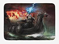 Dragon Bath Mat, Imaginary Wrath of Religious Figure Vikings Royal Boat with Dragon Head Storm Rays, Plush Bathroom Decor Mat with Non Slip Backing, 23.6 W X 15.7 W Inches, Multicolor