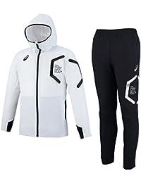 asics(アシックス) ストレッチクロス フーデッドジャケット パンツ 上下セット 【メンズ】 (XAT536/XAT636) (ホワイト×ブラック(01/90), XL)