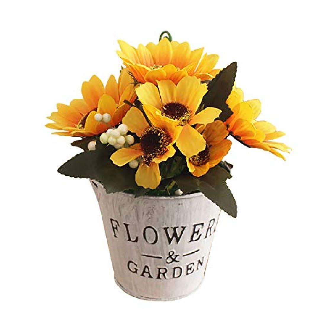 のぞき見標準五ruisuered装飾植物結婚式人工観葉植物人工的な太陽の花の偽物の植物盆栽レストランホテルホームショップカフェの装飾 - 黄色