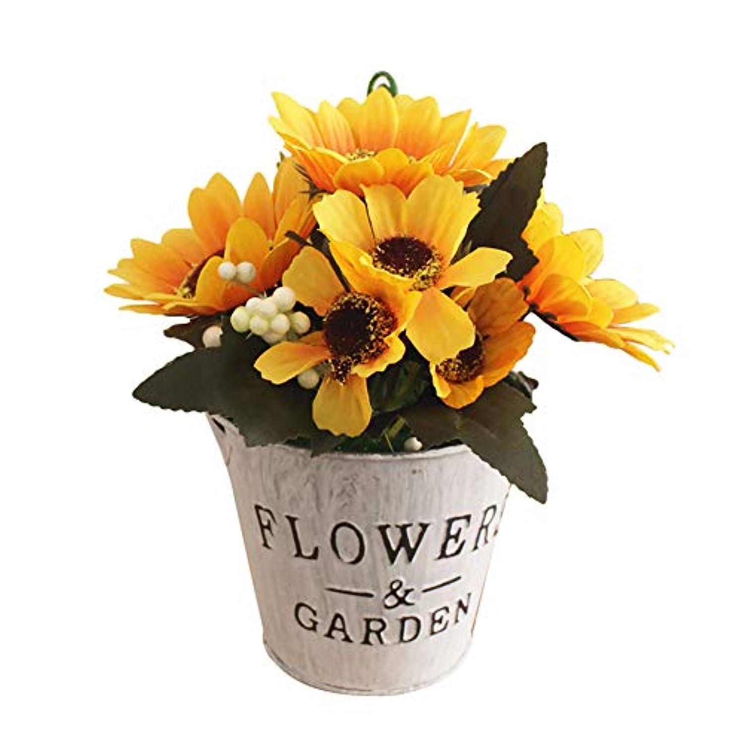 土短くするプラスruisuered装飾植物結婚式人工観葉植物人工的な太陽の花の偽物の植物盆栽レストランホテルホームショップカフェの装飾 - 黄色