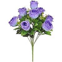 Dovewill ピュア 造花 人工ローズ ブーケ ホーム 家 花瓶 ガーデン装飾 5色選べ - 青, 42cm