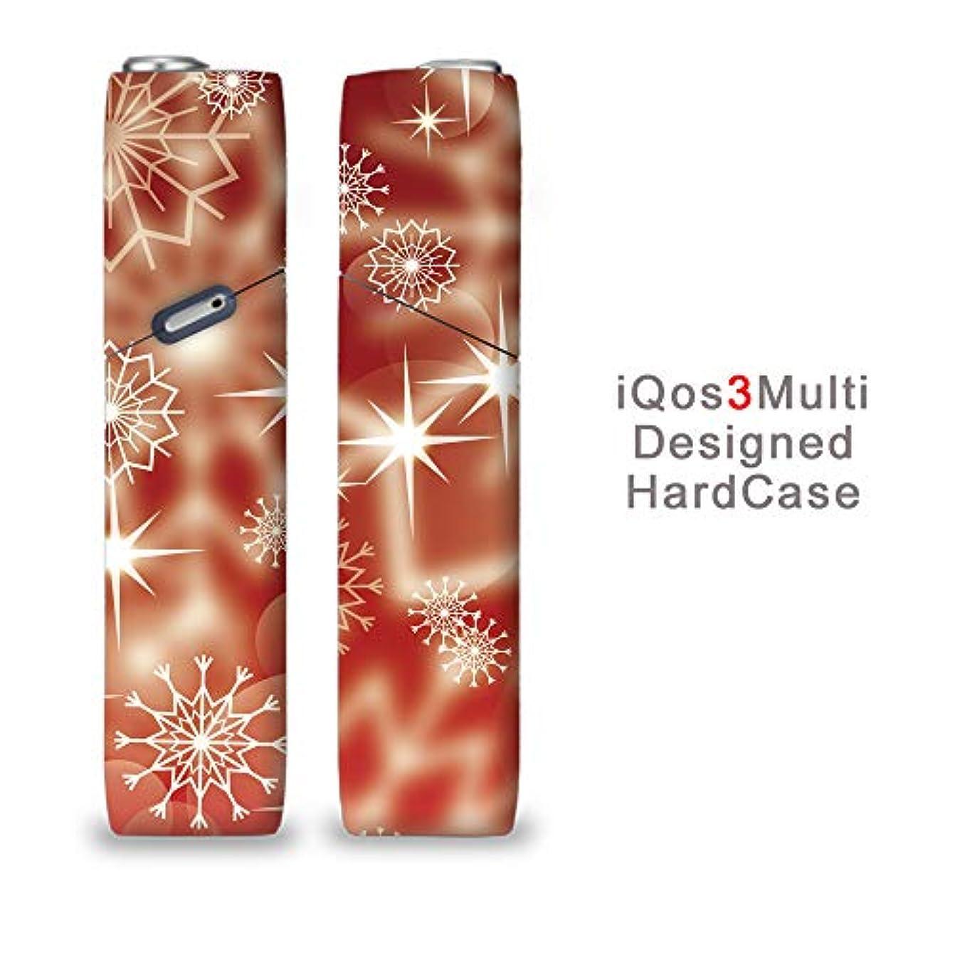 自我ラフト寝室完全国内受注生産 iQOS3マルチ用 アイコス3マルチ用 熱転写全面印刷 雪の結晶 加熱式タバコ 電子タバコ 禁煙サポート アクセサリー プラスティックケース ハードケース 日本製
