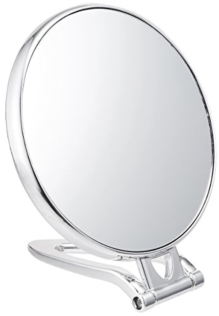 拡大鏡付スタンドミラー(約2倍)シルバー