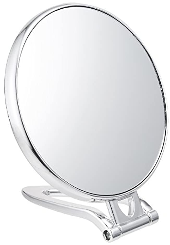 聡明選択するプラスチック拡大鏡付スタンドミラー(約2倍)シルバー