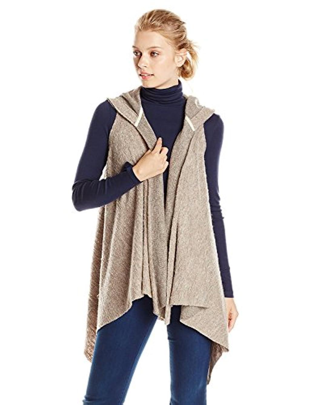 鷹マルコポーロ従来のHazel Women's Hooded Knit Vest with Shark Hem Taupe Medium [並行輸入品]