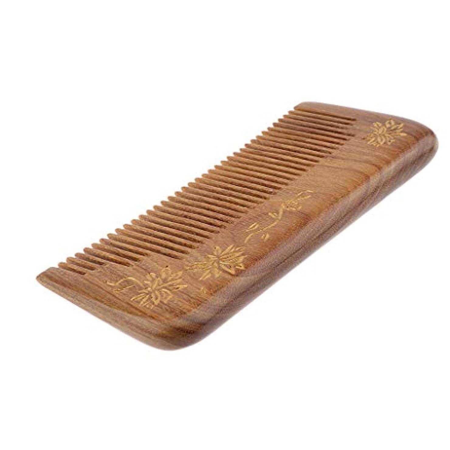 円形主婦数帯電防止櫛 ヘアブラシ 木製櫛 広い歯 自然な木 マッサージ櫛 プレゼント 4仕様選べ - #3