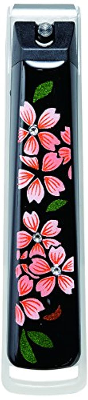 慎重に写真を描く着飾る橋本漆芸 蒔絵爪切り スワロフスキー桜 桐箱