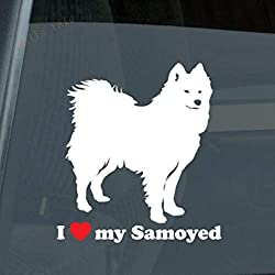 Zytree - I Love My Samoyed ステッカー ダイカット ビニール サミー [W with red - 14cmx13cm]