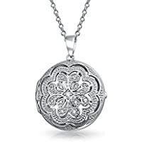 Vintage Style Filigree Flower Round Circle Aromatherapy Essential Oil Perfume Diffuser Locket Pendant Necklace For Women