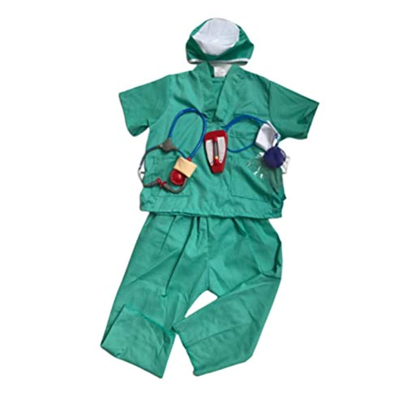 騒々しいインディカ速報Amosfunドクターユニフォーム子供のための子供手術ガウンコスプレ衣装ロールプレイ衣装ハロウィン仮装パーティー