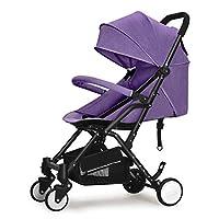 YQCS●LS 乳母車の高い景色は横の携帯用折る衝撃吸収材の新生児の四季の普遍的な任意坐る平面に取付けられる必要はないです (Color : Purple)