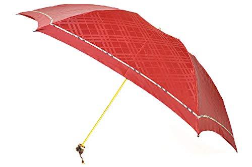 バーバリー BURBERRY トーナルチェック×ノバチェックパイピング が素敵 折りたたみ 雨傘 /赤系 ブランド レデ...