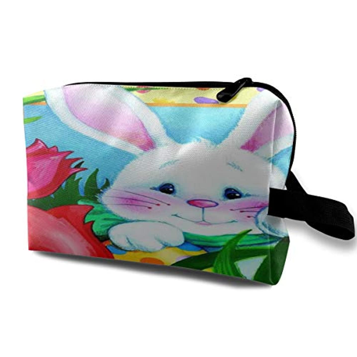 ページ路地距離Jelly Bean Bunny Easter 収納ポーチ 化粧ポーチ 大容量 軽量 耐久性 ハンドル付持ち運び便利。入れ 自宅?出張?旅行?アウトドア撮影などに対応。メンズ レディース トラベルグッズ